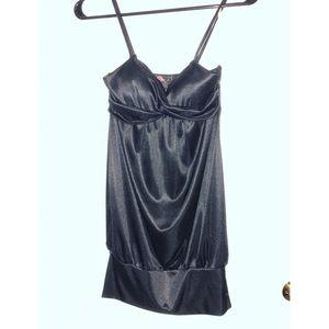 Black satin spaghetti strap mini dress